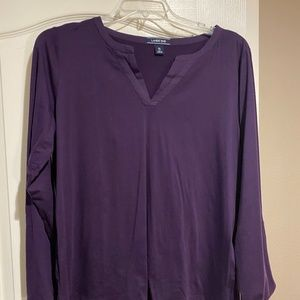 Purple, Long Sleeve, V-neck Shirt